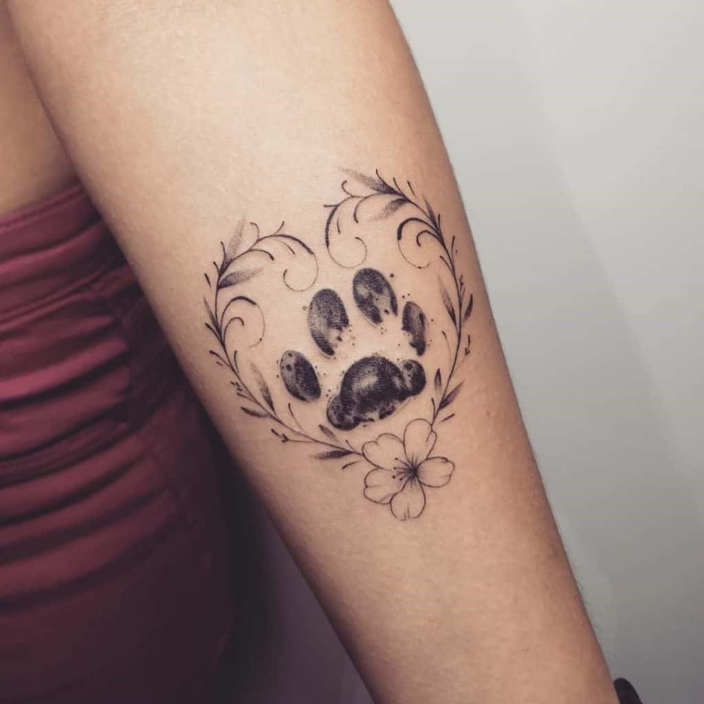 Dog Paw Tattoo With A Heart