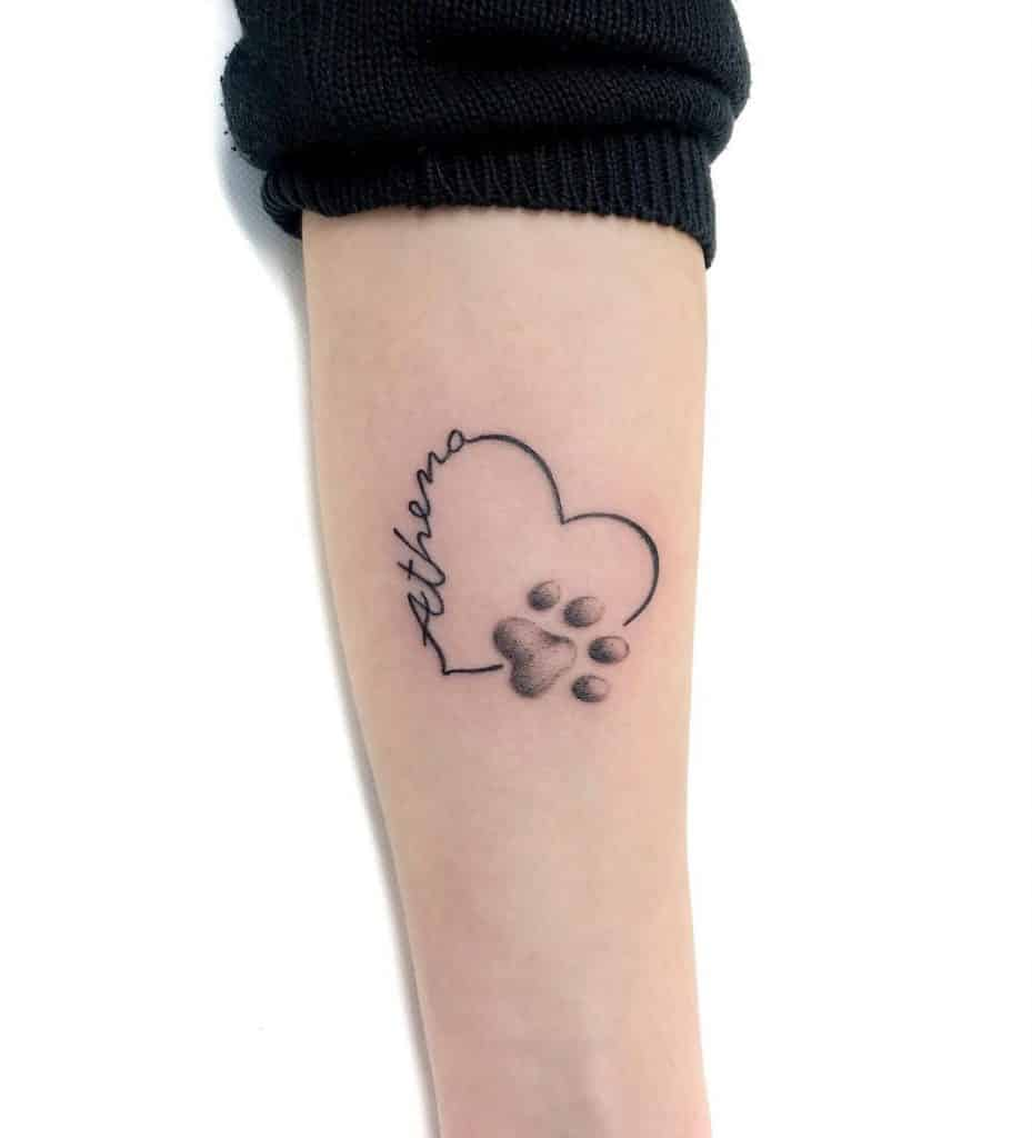 Dog Paw Tattoo With A Heart on the Arm