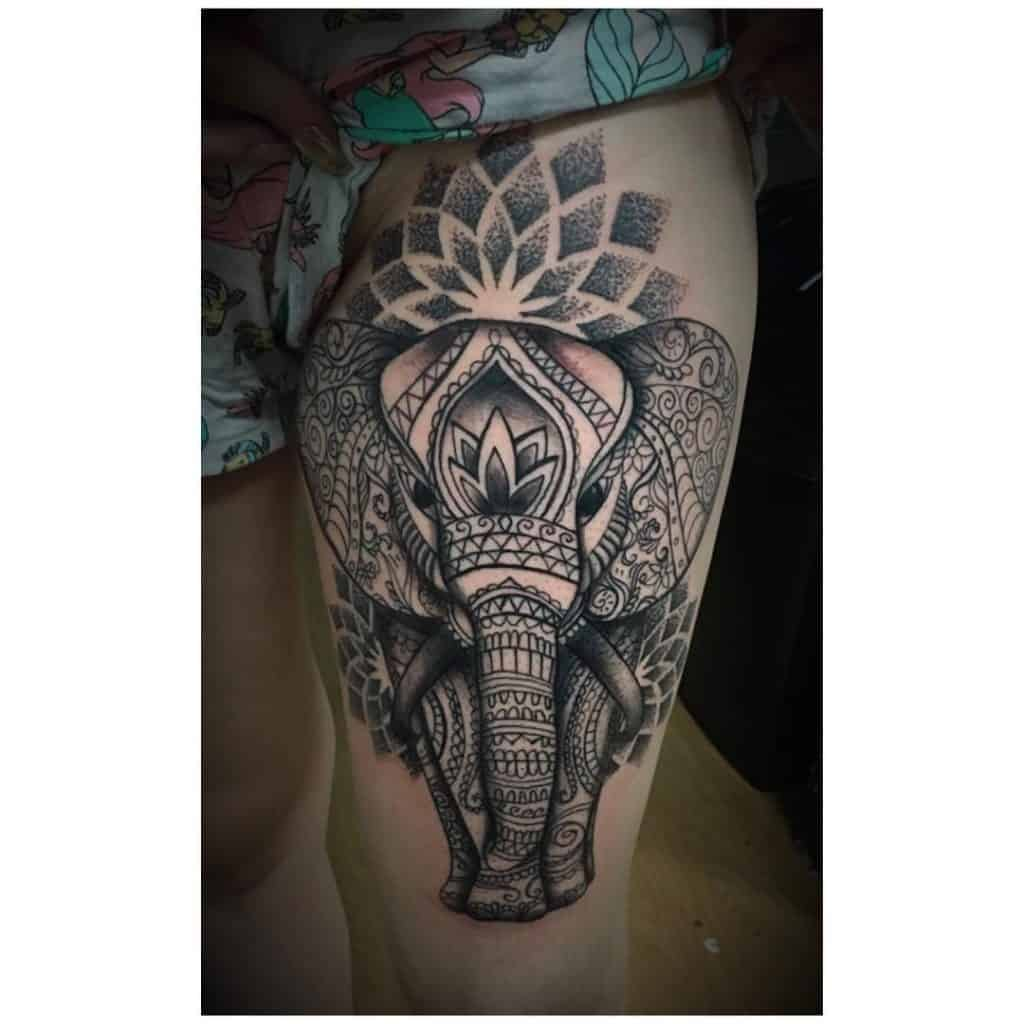Elephant Tattoo on The Thigh