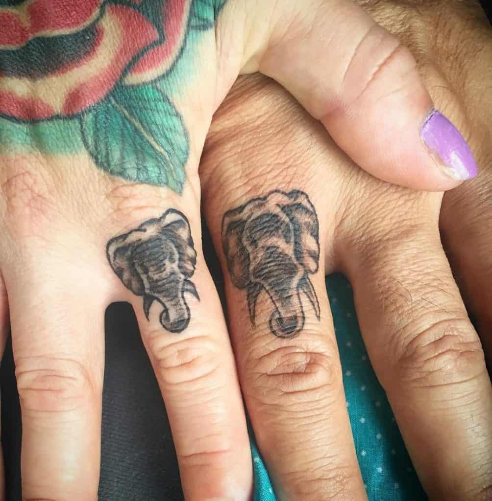 Elephant Tattoo on The finger