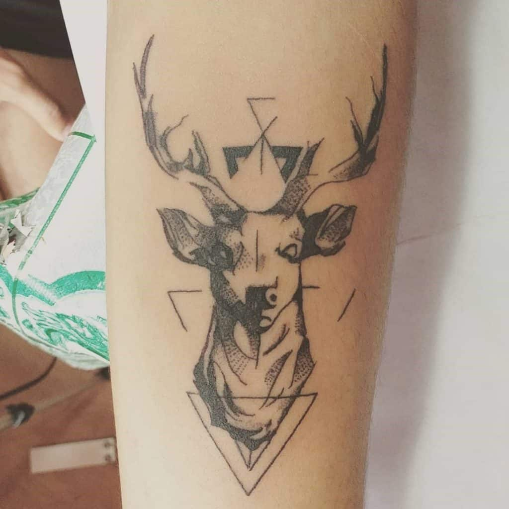 Energetic Deer Head Tattoo