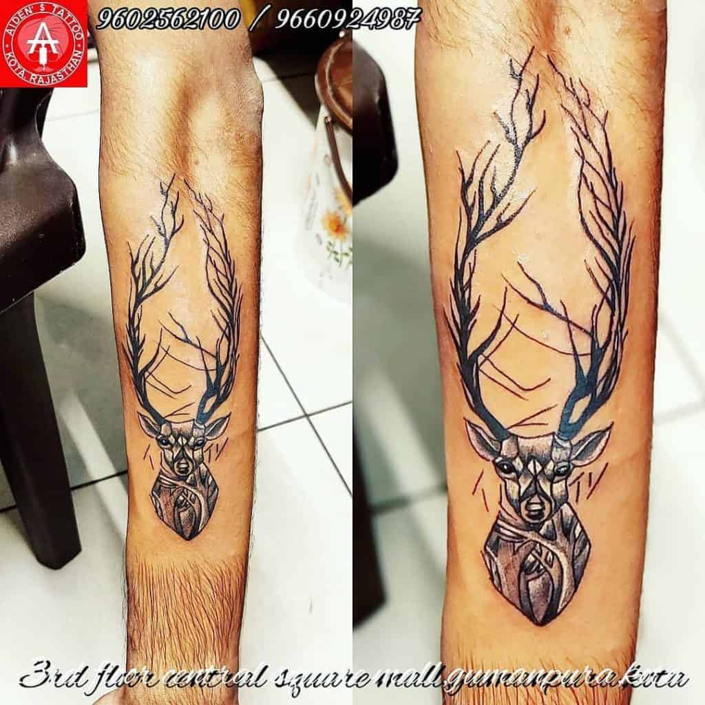 Exaggerated Deer Crown Tattoo