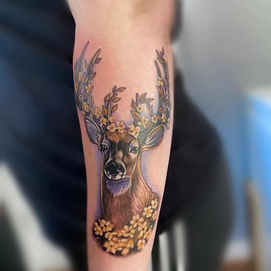 Flower Deer Crown Tattoo