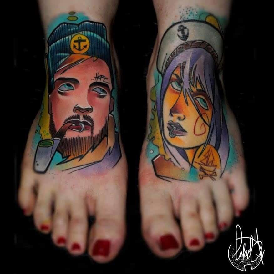 Foot Tattoo Designs Colorful Matching Tattoo