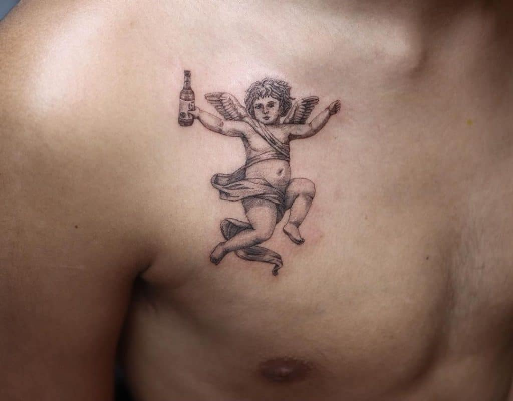 Funny Angel Chest Small Tattoo