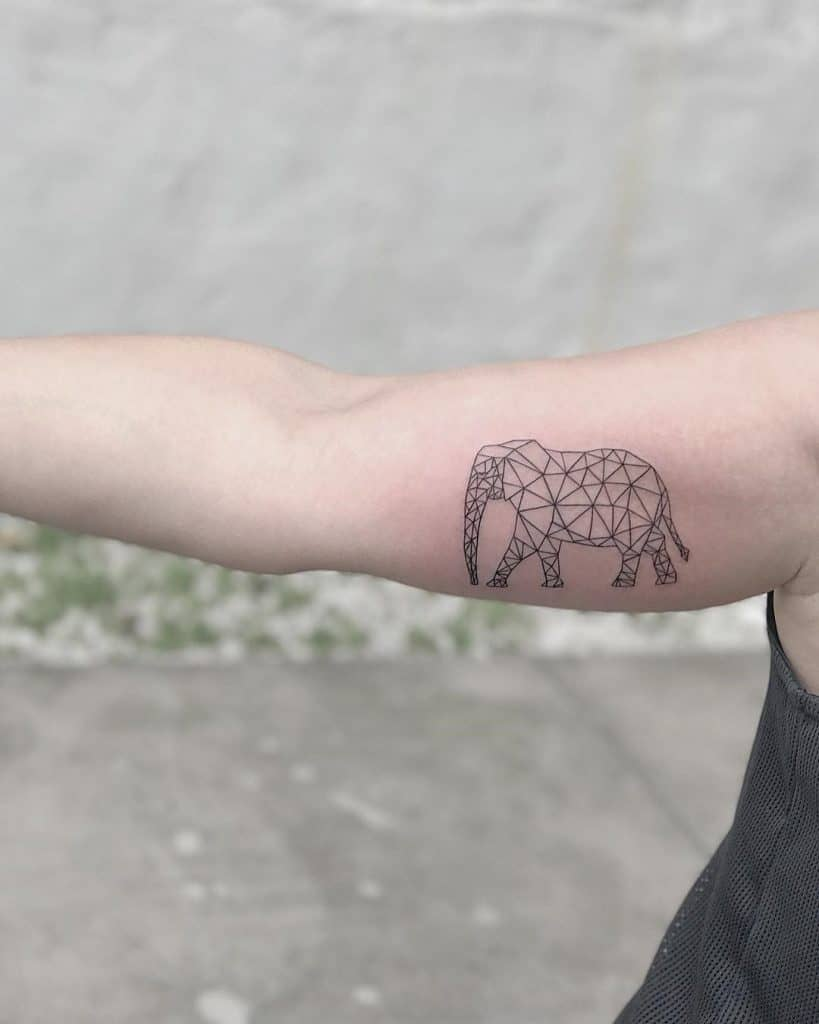 Geometric Elephant Tattoo on the Arm