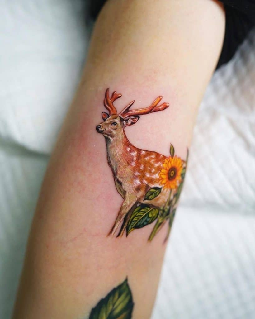 Natural Deer Tattoo