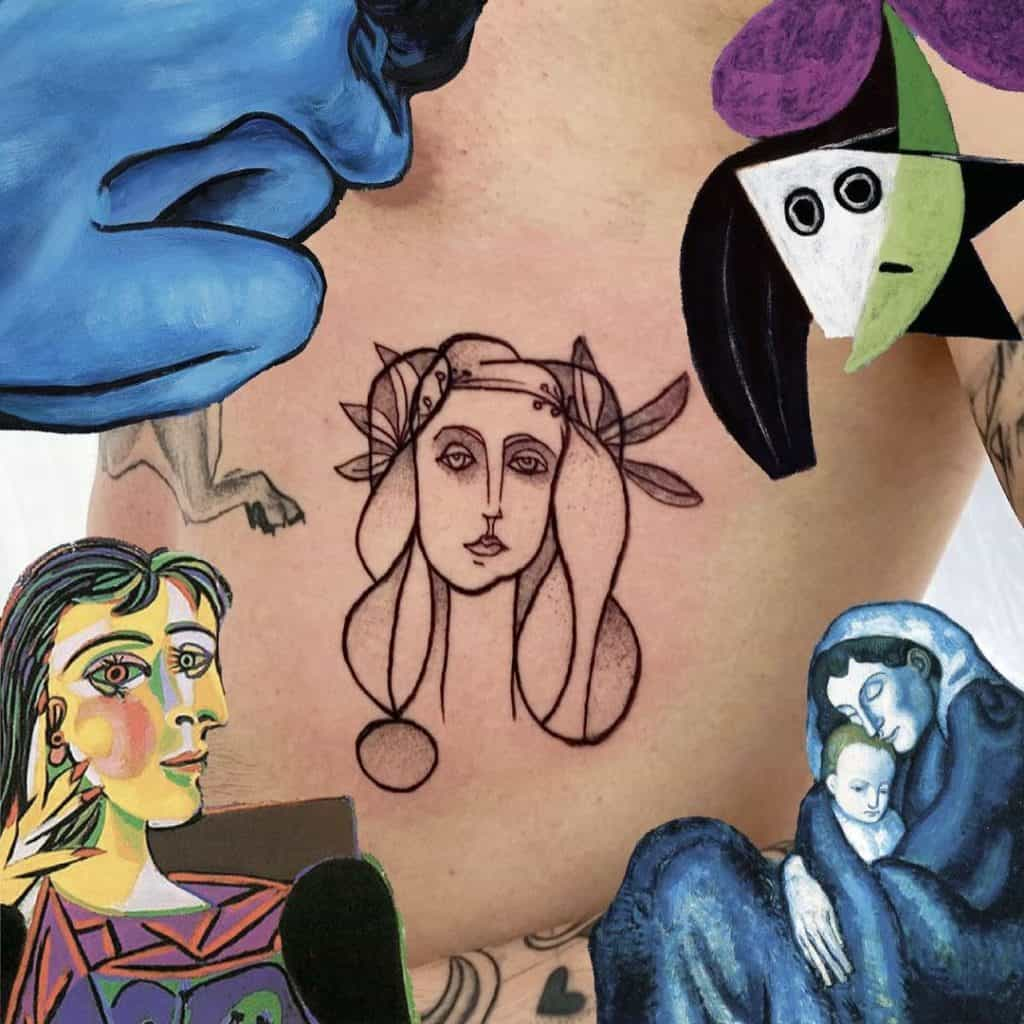 Picasso Inspired Fine Line Tattoos 2
