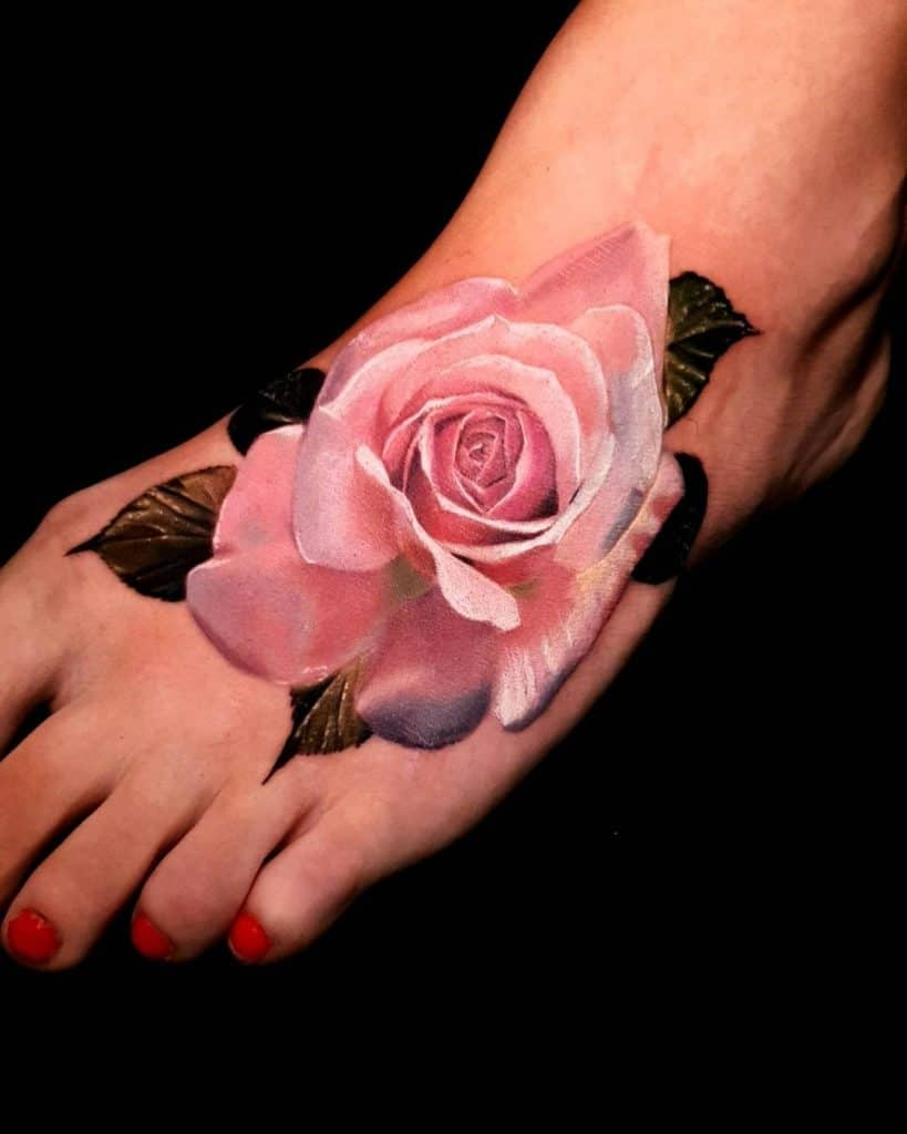 Pink Foot Flower Tattoo