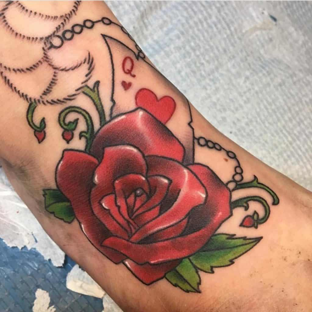 Red Rose Flower Foot Tattoo