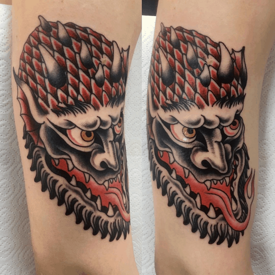 Scary Satanic Tattoo Red Design