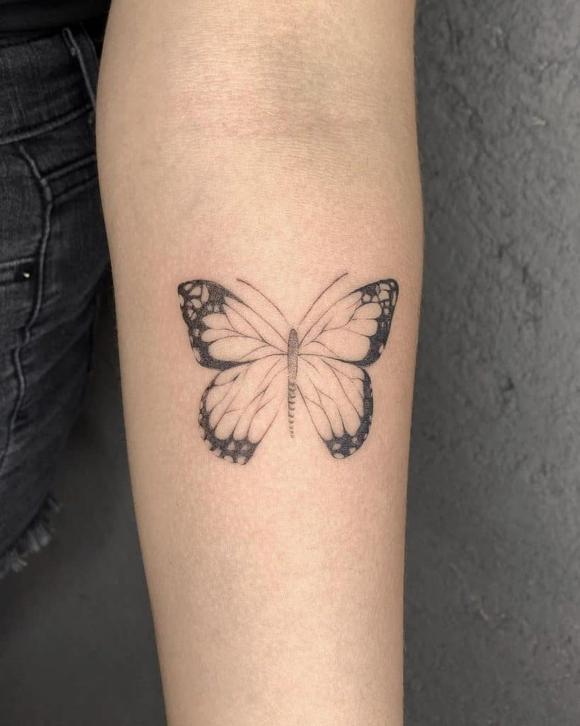 Whimsical Butterfly Fine Line Tattoos 3