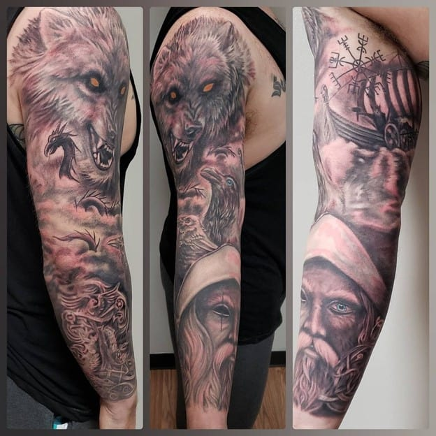 Wolf And Viking Sleeve