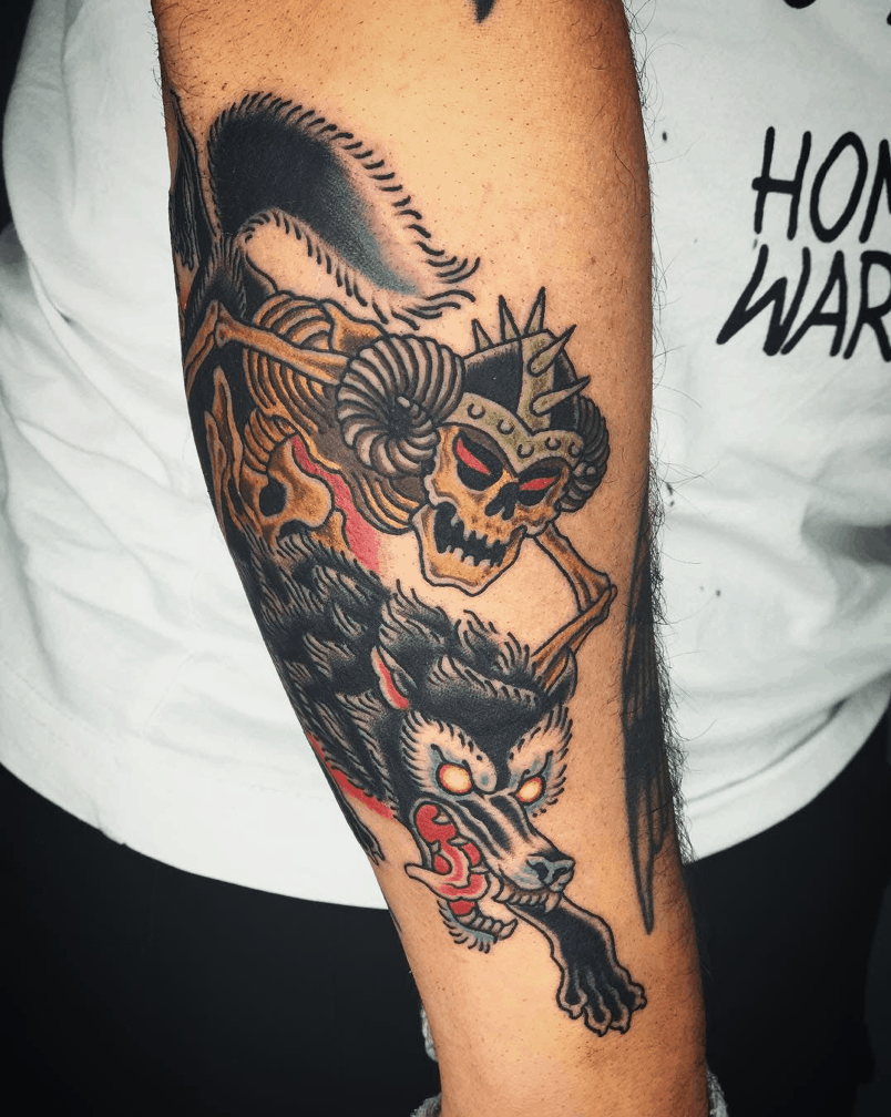 Wolf Inspired Satanic Tattoo Over Forearm