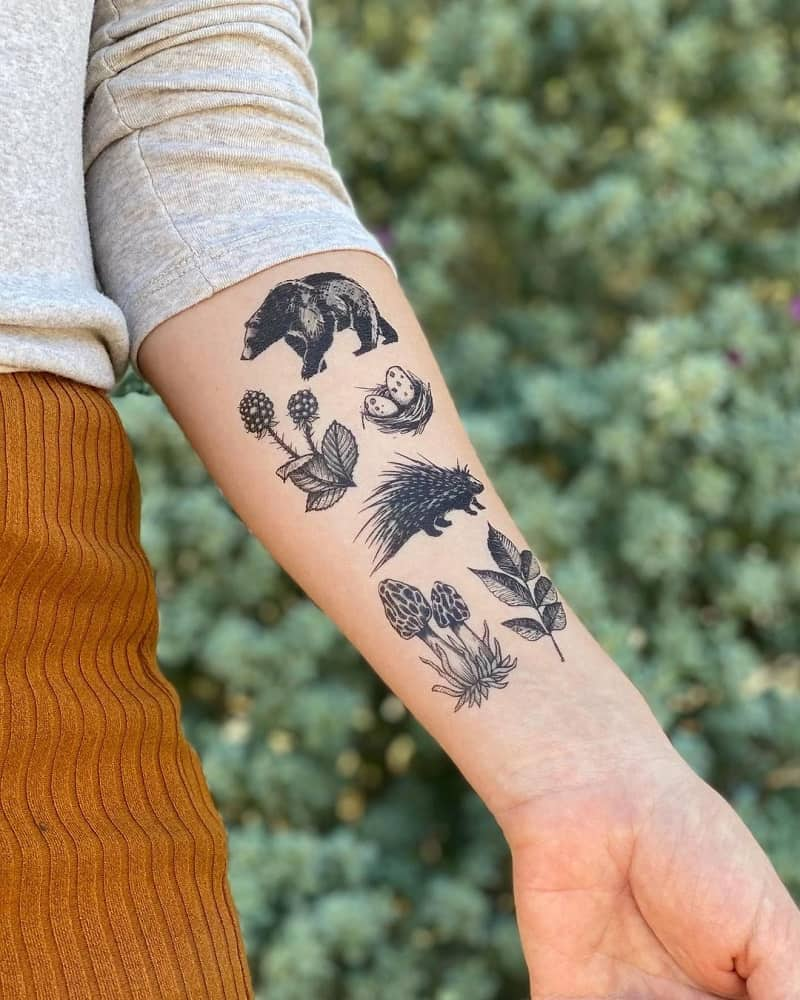 Woodland-inspired temporary tattoo collection with a few flora, fauna, and fungi