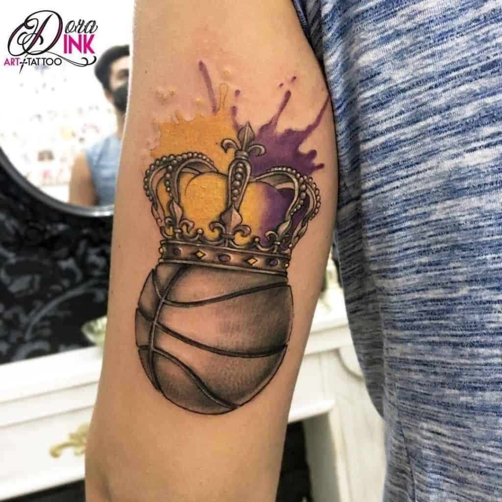 Abstract Crown and Ball Tattoo