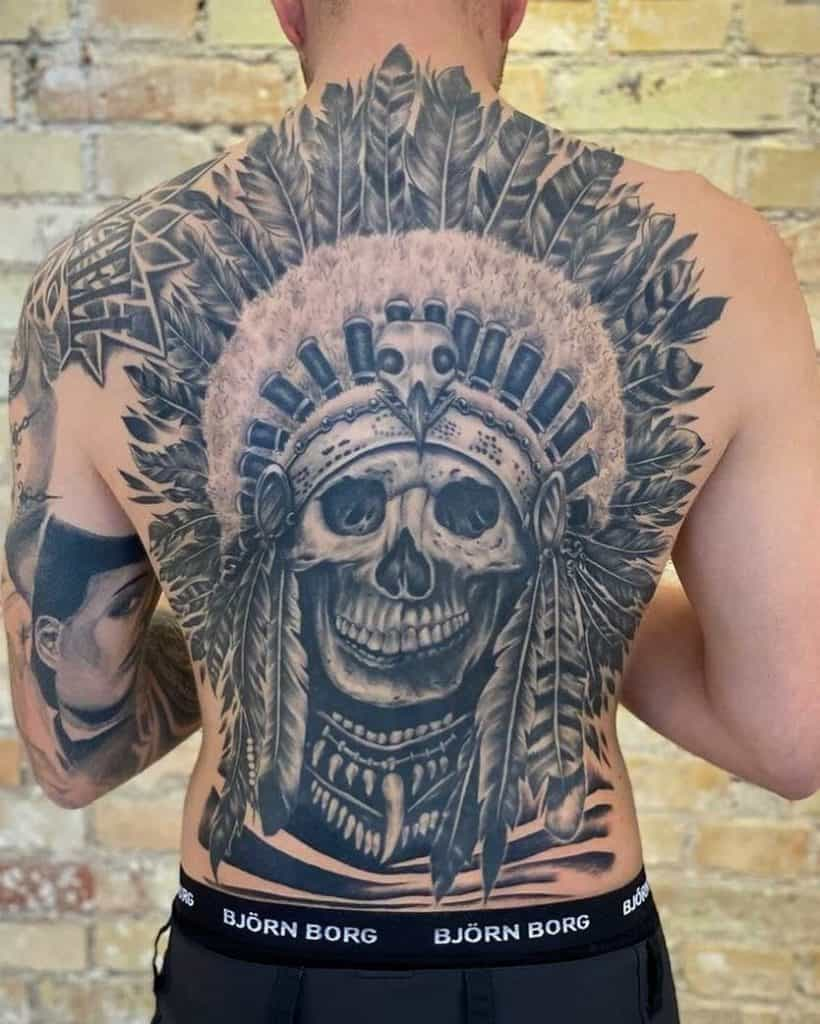 Back Tattoos in Black and Grey 2