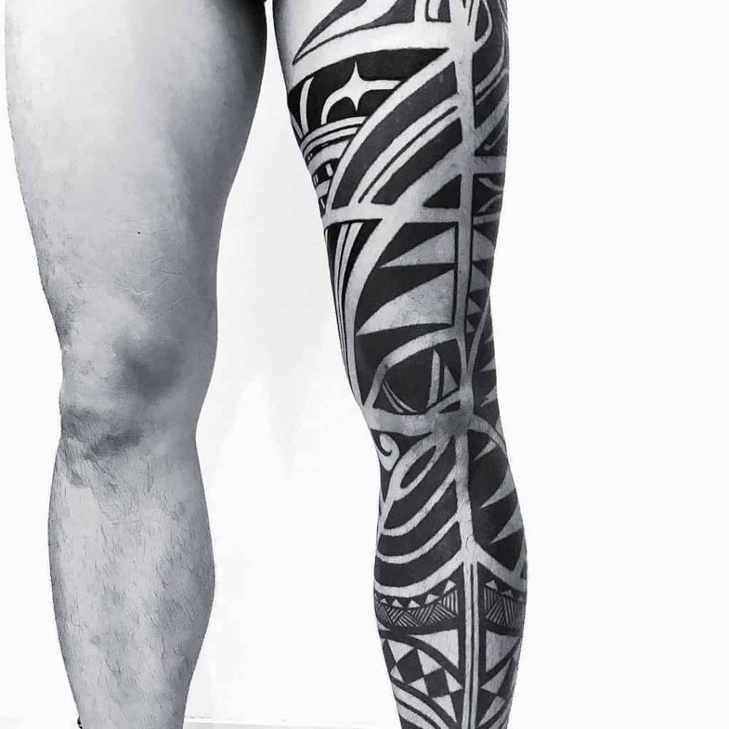 Black And Grey Tattoo On Leg 1