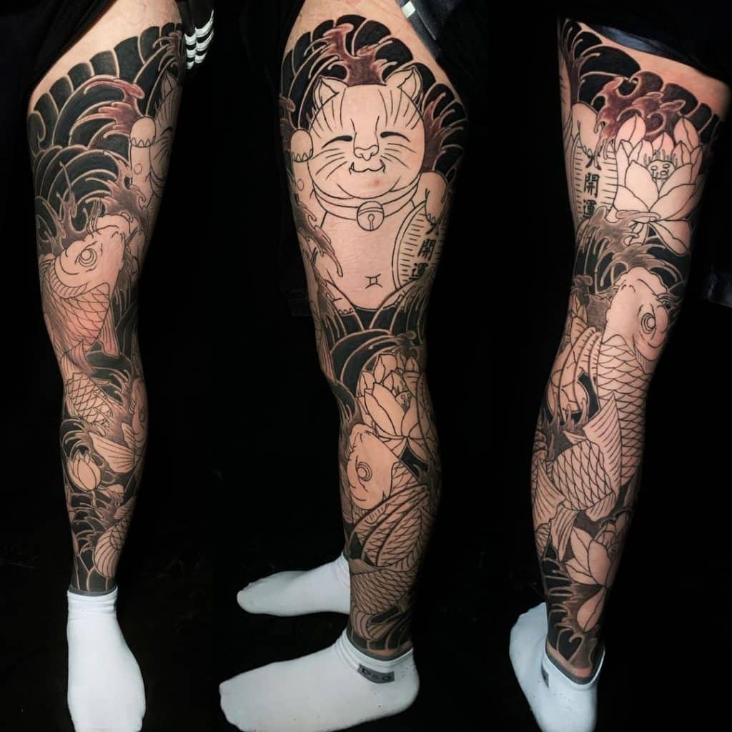 Black And Grey Tattoo On Leg 2