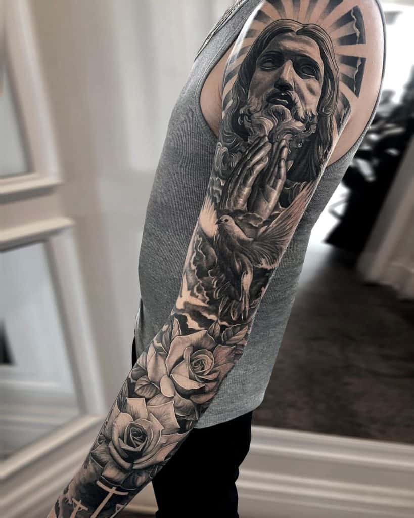 Black and Gray Tattoos In Religious Themes 3