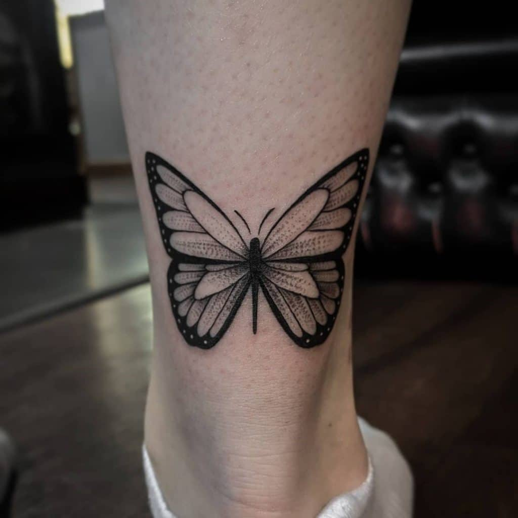 Butterfly Ankle Tattoos For Ladies