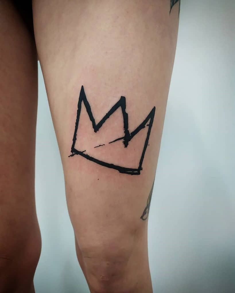 Crown Tattoo on Thigh