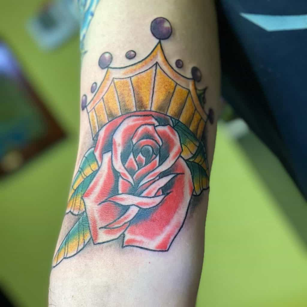 Crown and Flowers Tattoo Design