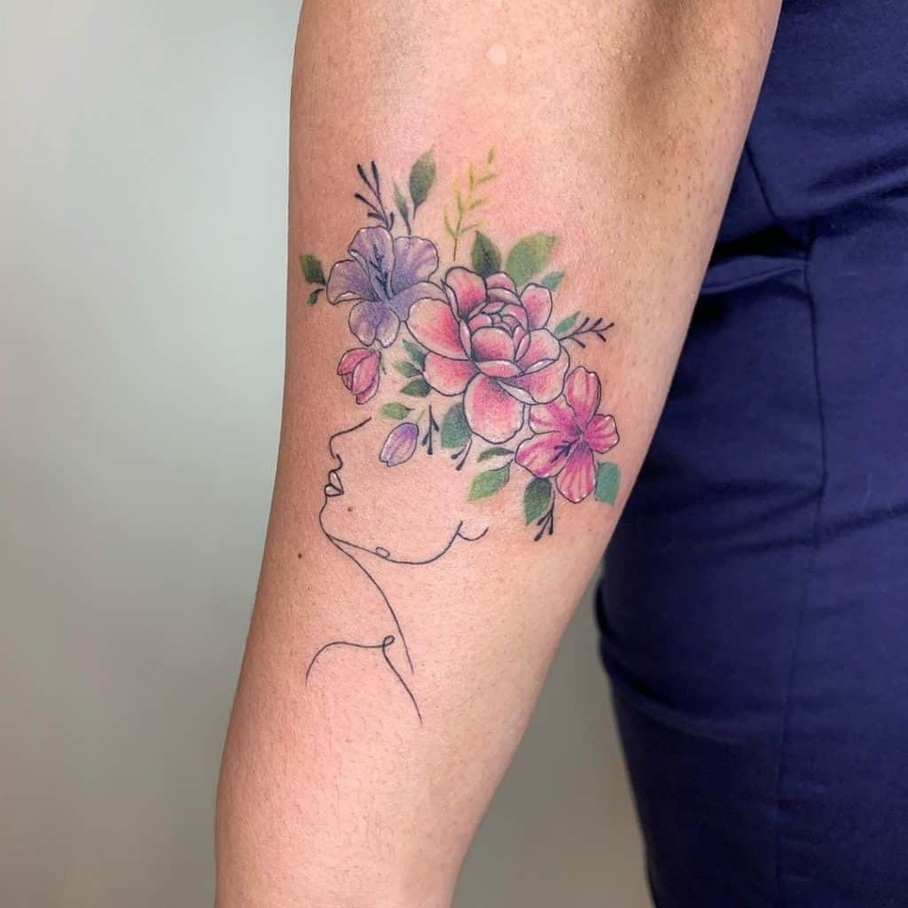 Crown and Flowers Tattoo on Arm