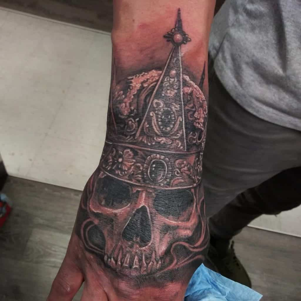 Crown and Skull Tattoo on Hand