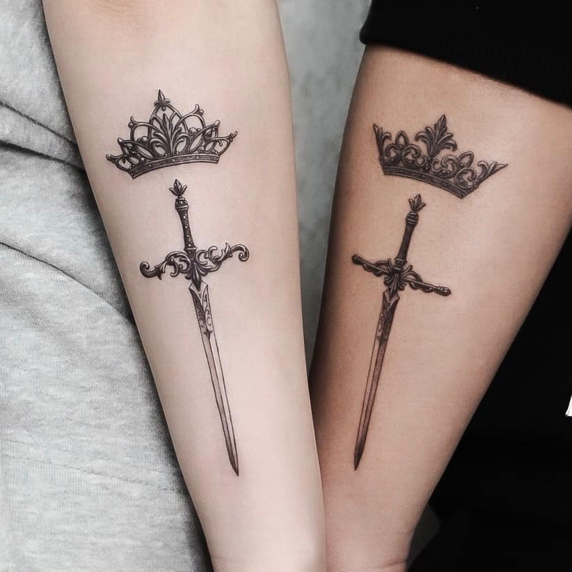 Crown and Sword Tattoo Design