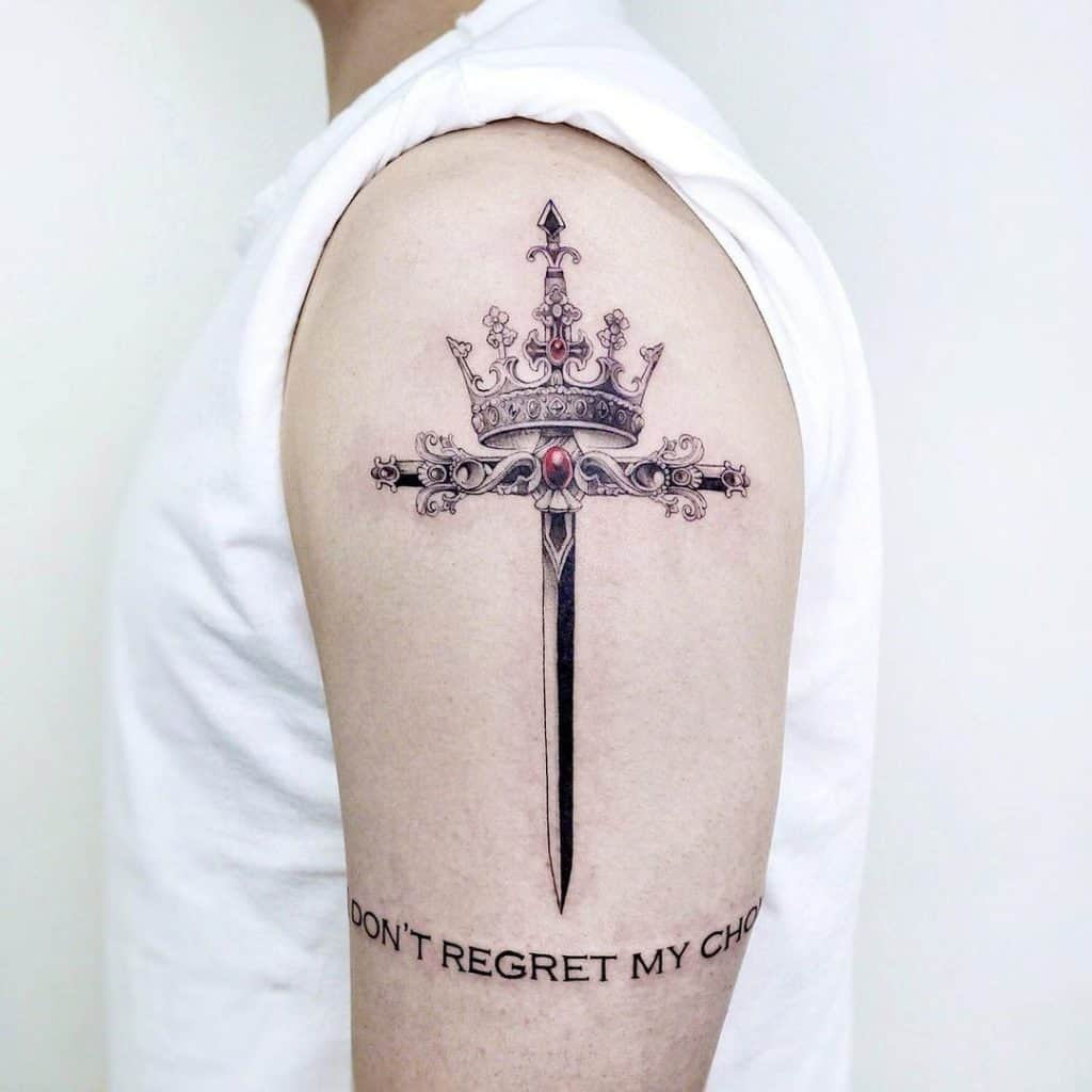 Crown and Sword Tattoo On Shoulder