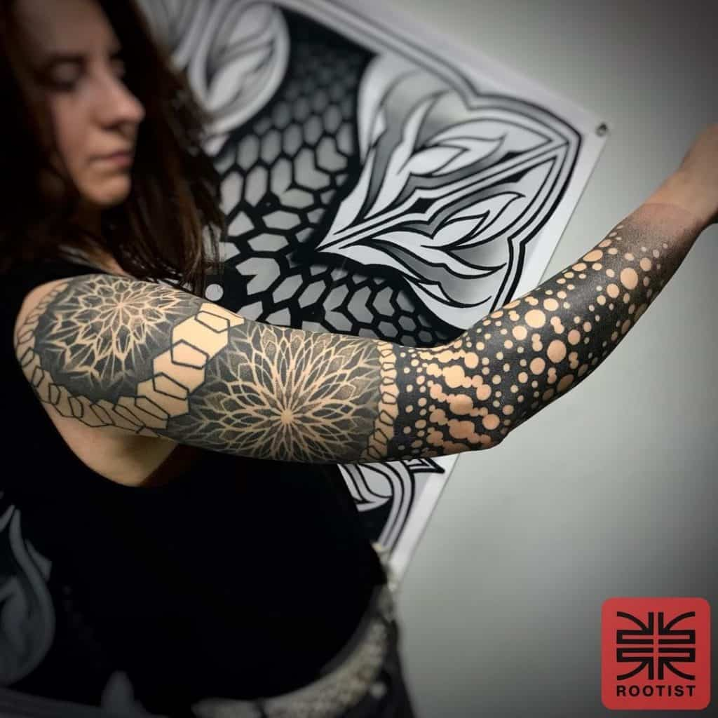 Geometric Black And Grey Tattoos 1