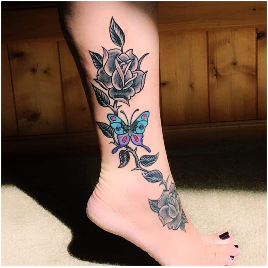 Giant Butterfly Ankle Tattoo