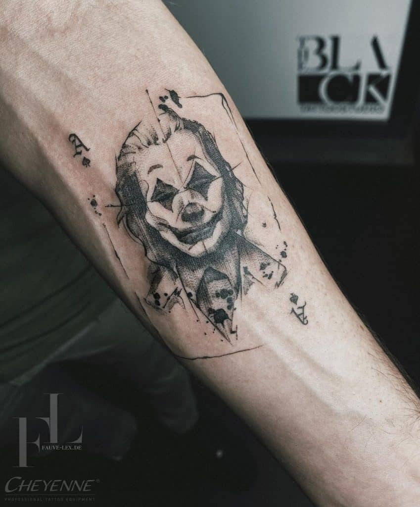 Joker Black And Grey Tattoo 2