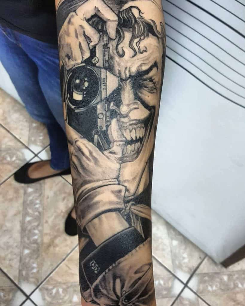 Joker Black And Grey Tattoo 3