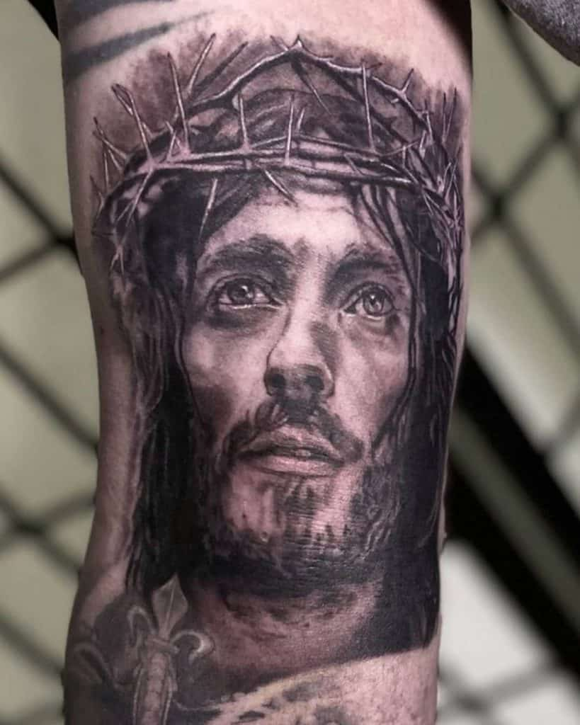 Man's Head with Crown of Thorns Tattoo