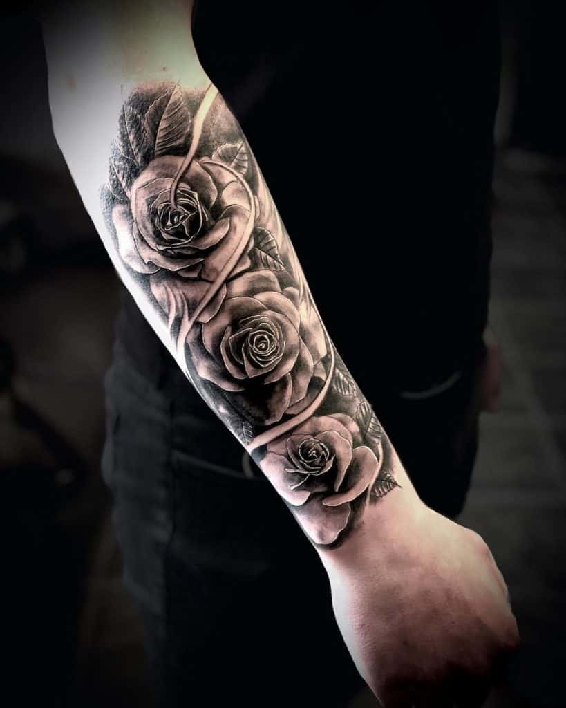 Roses Tattoo In Black and Grey 1