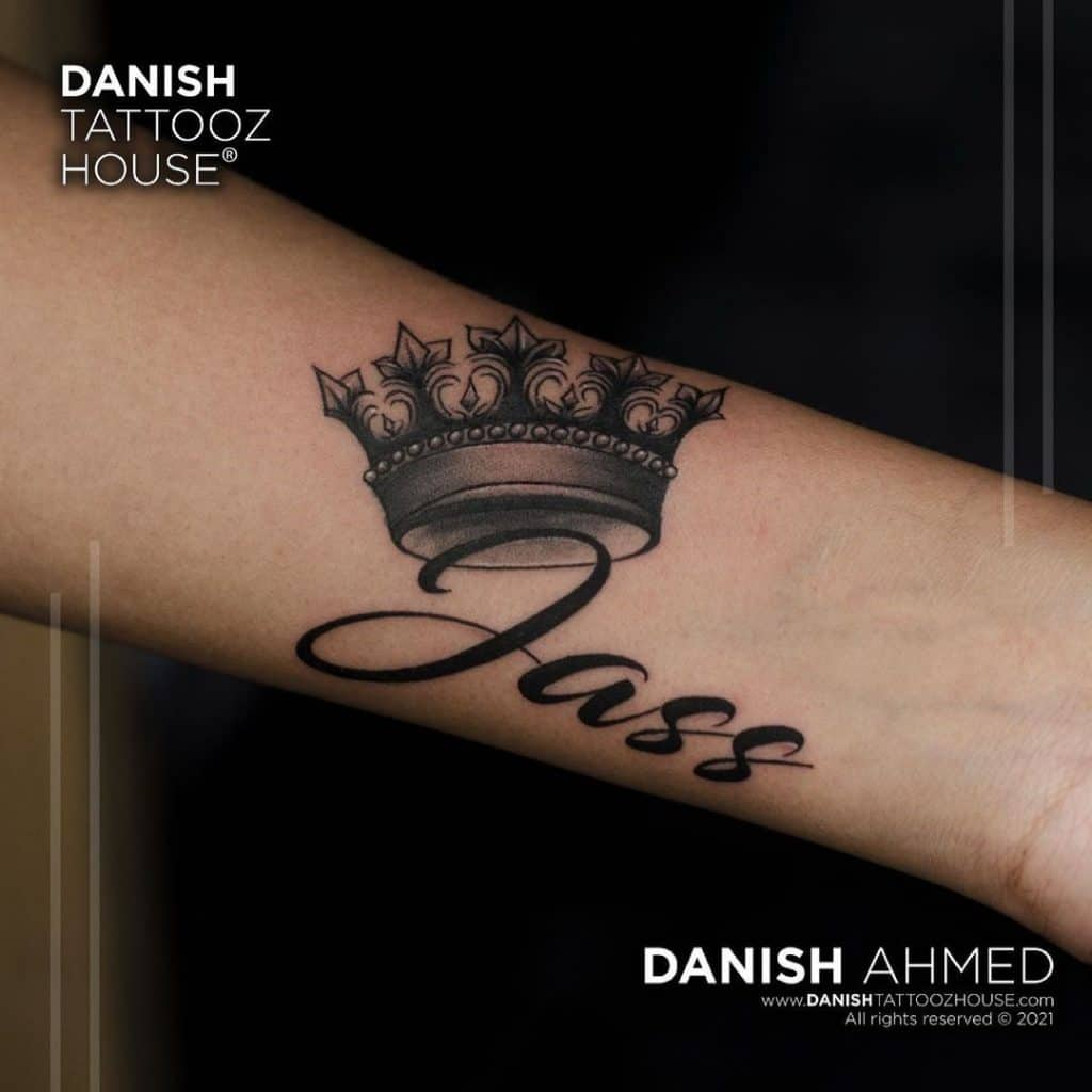 Words with Crown Tattoo